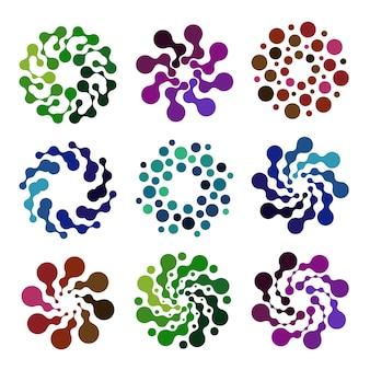 Zestaw logo na białym tle streszczenie kolorowy okrągły kształtelementy dekoracyjne na białym tle wektor