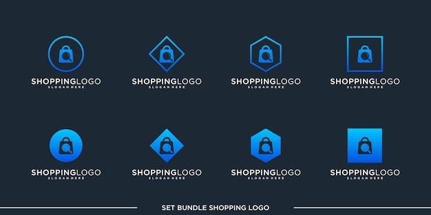 Zestaw logo na zakupy wektor pakiet premium