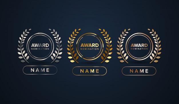 Zestaw logo nagrody z kolumną nazwy