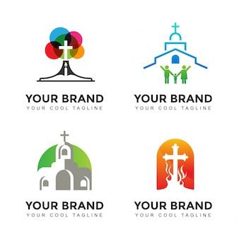 Zestaw logo nowoczesnego kościoła marki