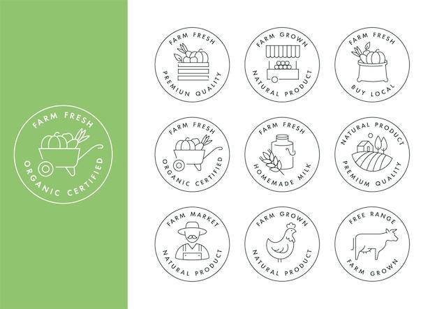Zestaw logo, odznak i ikon dla naturalnych produktów rolnych i zdrowotnych.