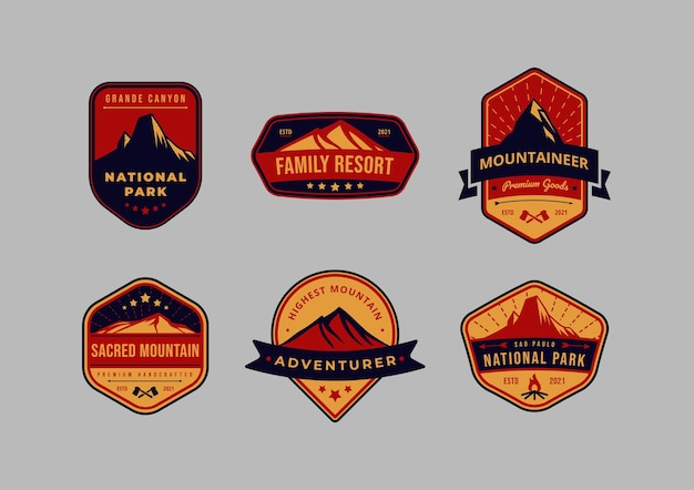 Zestaw logo odznaki godła rocznika górskiego i przygodowego