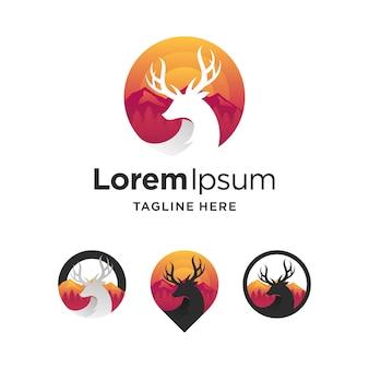 Zestaw logo odznaki jelenia z wieloma koncepcjami