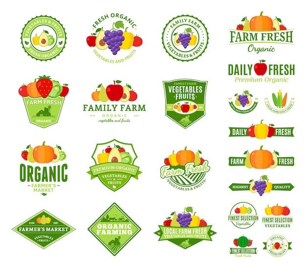 Zestaw logo owoców i warzyw. etykiety na owoce i warzywa z przykładowym tekstem.