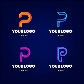 Zestaw logo p w kolorze gradientu