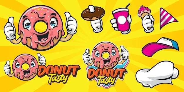 Zestaw logo pączka szczęśliwy kreskówka