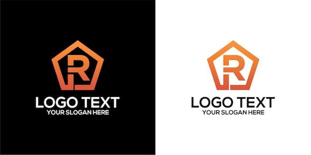 Zestaw logo pięciokąta w połączeniu z szablonem wektorów premium na literę r