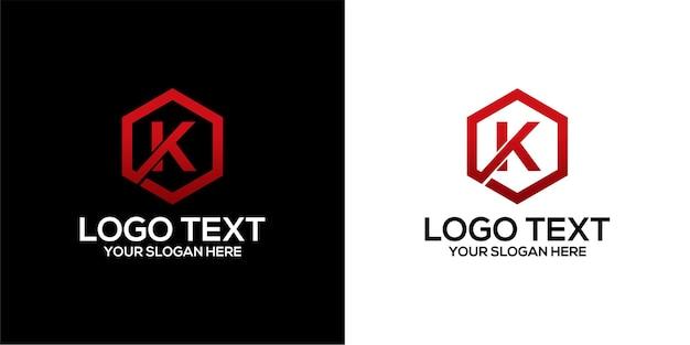 Zestaw logo pięciokąta w połączeniu z szablonem wektorów premium na literę x i k