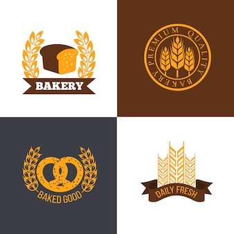 Zestaw logo piekarnia i sklep z chlebem