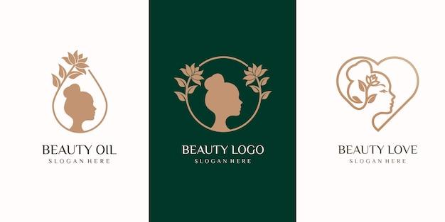 Zestaw logo piękna kobieta. spa, moda, makijaż, fryzjerstwo dziewczyna koncepcja logo ikona stylu liniowego