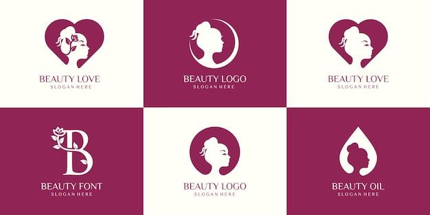 Zestaw logo piękna kobieta.