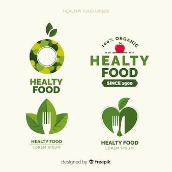 Zestaw logo płaskie zdrowej żywności
