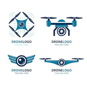 Zestaw logo płaskiego drona