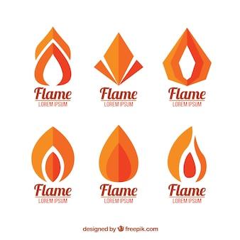 Zestaw logo płomień na płaskiej konstrukcji