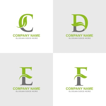Zestaw logo początkowego c, d, e, f.
