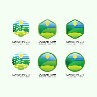 Zestaw logo pola zielony krajobraz gospodarstwa