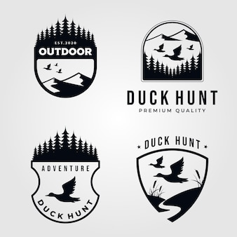 Zestaw logo polowania na kaczki vintage