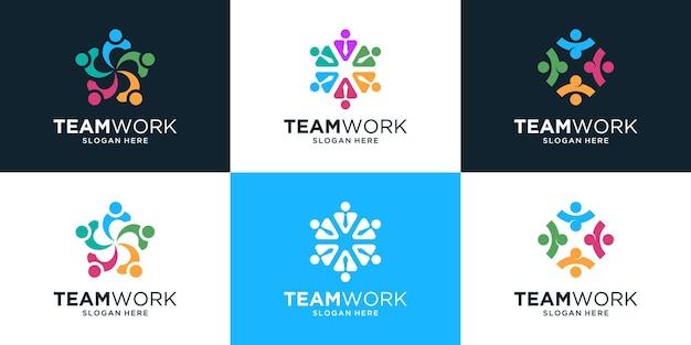 Zestaw logo pracy zespołowej z grupą osób w kolorowym stylu.