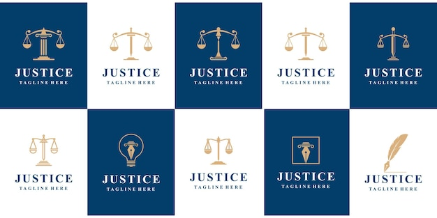 Zestaw logo prawa sprawiedliwości.