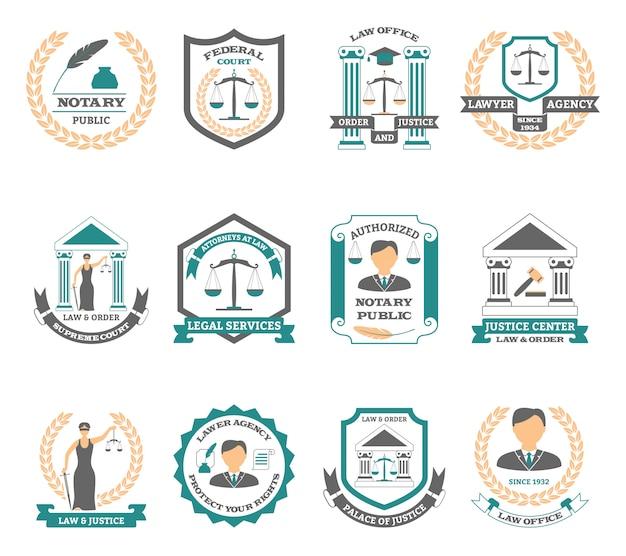 Zestaw logo prawnika