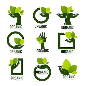 Zestaw logo produktu nature, ekologiczny symbol i znak, ludzka ręka i zielone rosnące rośliny