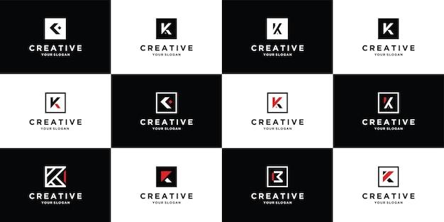 Zestaw logo projekt litery k z szablonem w stylu kwadratu premium wektor