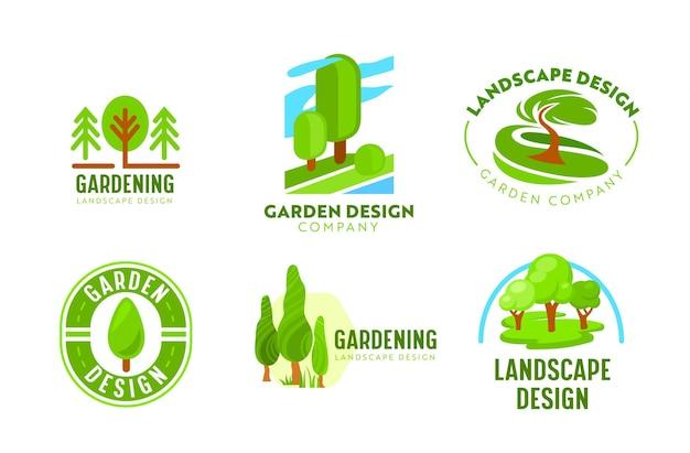 Zestaw logo projektowanie krajobrazu ogrodu. ogrodnictwo, ikony firmy zajmującej się zielonym krajobrazem