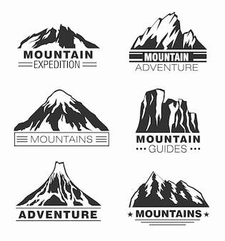 Zestaw logo przygody w górach i na zewnątrz