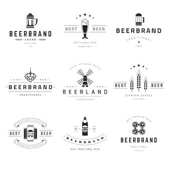Zestaw logo pubów premium z napojami piwnymi.