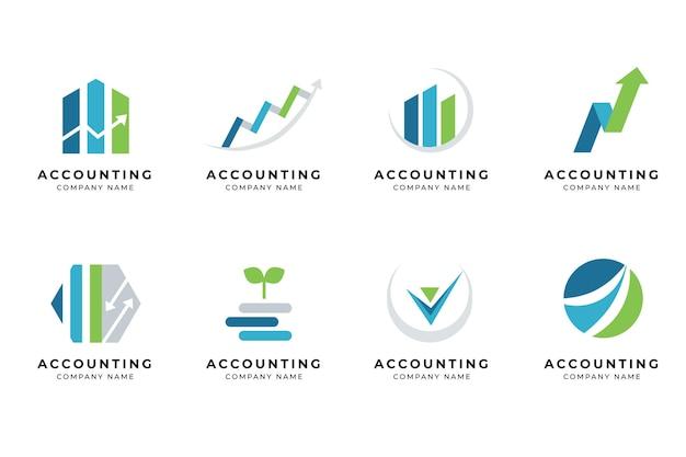 Zestaw logo rachunkowości płaska konstrukcja
