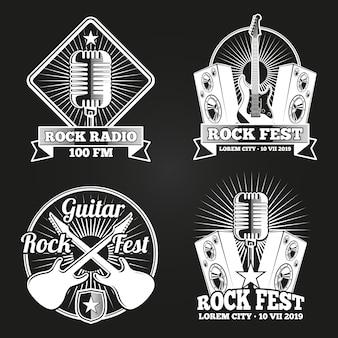 Zestaw logo radia festiwalu muzyki. emblematy festiwalu muzyki rockowej