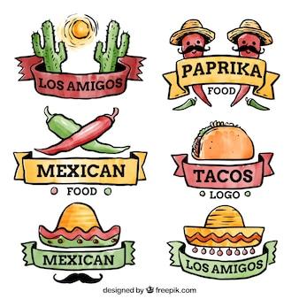 Zestaw logo restauracji meksykańskiej
