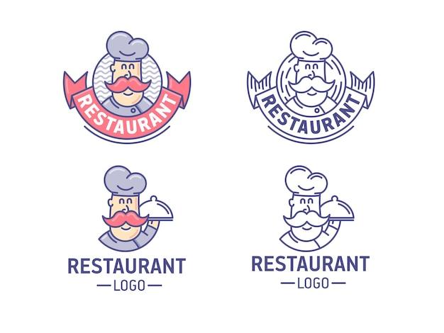 Zestaw logo restauracji. retro logotyp z szefem kuchni.