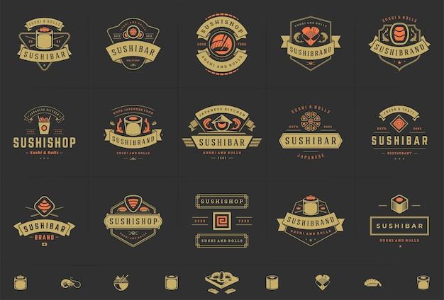 Zestaw logo restauracji sushi i japońskiej