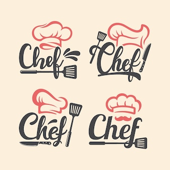 Zestaw logo restauracji szefa kuchni