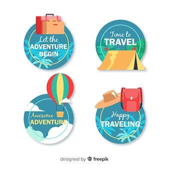 Zestaw logo rocznika podróży płaski