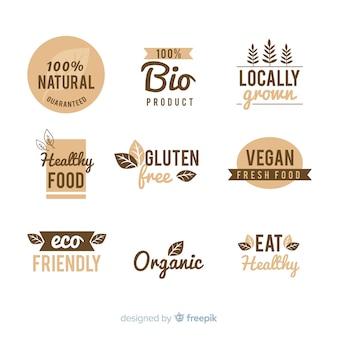 Zestaw logo rocznika zdrowej żywności
