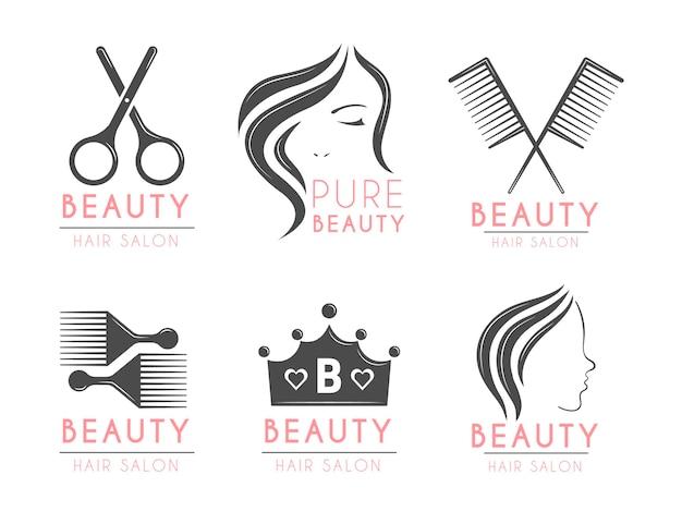 Zestaw logo salonu fryzjerskiego z płaskim ręcznie rysowane