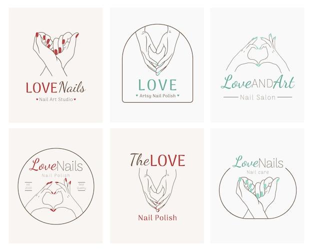 Zestaw logo salonu piękności paznokci
