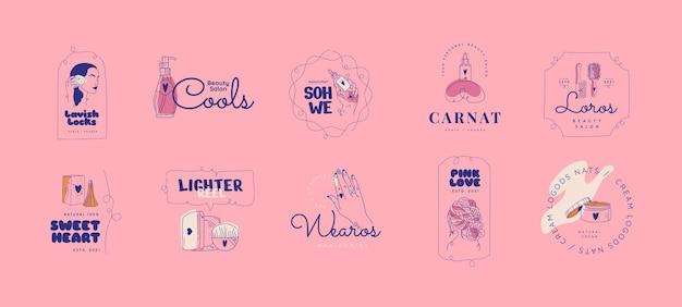 Zestaw logo salonu piękności z płaskim ręcznie rysowane