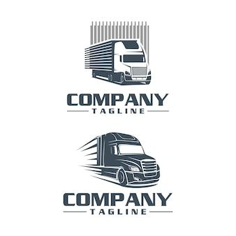 Zestaw logo semi truck projektuje szablon logo wektor