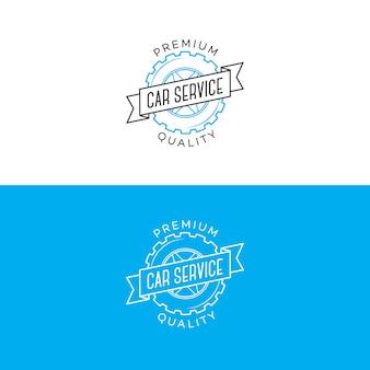 Zestaw logo serwisu samochodowego z przekładnią i stylem linii wstążki na białym tle na tle naprawy samochodu