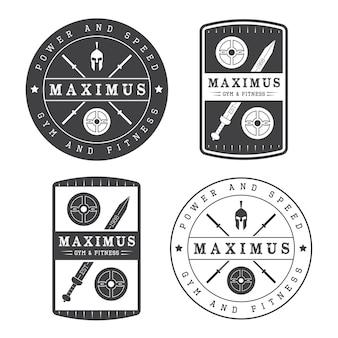Zestaw logo siłowni w stylu vintage