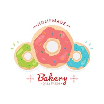 Zestaw logo sklepów piekarniczych sklep ze słodyczami szablon projektu