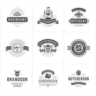Zestaw logo sklepu mięsnego lub restauracji