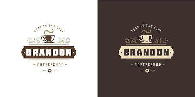 Zestaw logo sklepu z kawą lub herbatą