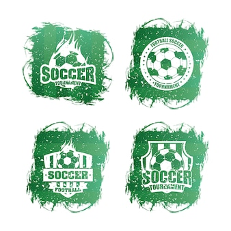 Zestaw logo sportu piłki nożnej piłka nożna