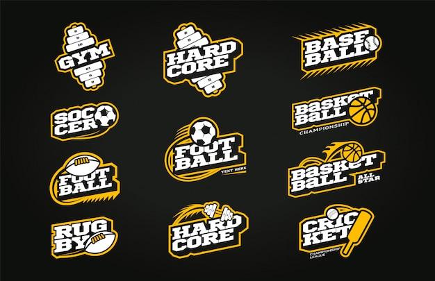 Zestaw logo sportu w stylu retro