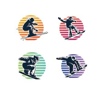 Zestaw logo sportu zimowego. logo snowboardowe