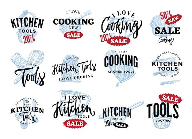Zestaw logo sprzedaży sprzętu kuchennego